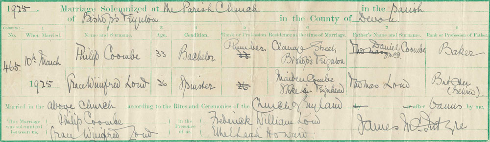 Part of the marriage certificate for Philip and Grace Coombe, 10th March, 1925.