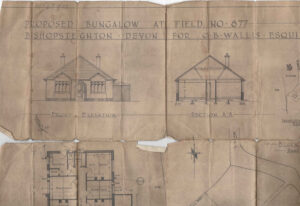 Part of a plan for a house built for Clifford Wallis in Bishopsteignton.