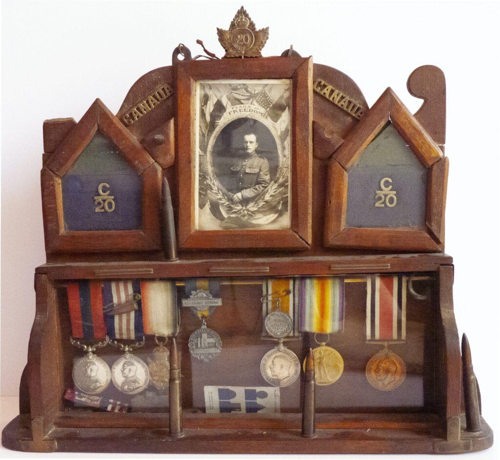 A display of Philip Coombe's military memorabilia.