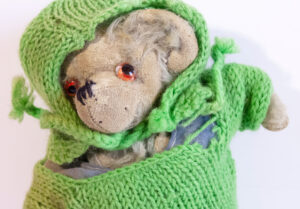 Photograph of a teddy bear belonging to Molly Coombe