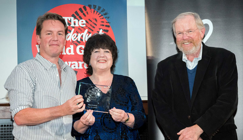 "Alex receiving ""Top UK Tour Guide"" at the Wanderlust World Guide Awards. Presenting the award are Wanderlust Magazine founder Lyn Hughes and Author Bill Bryson."