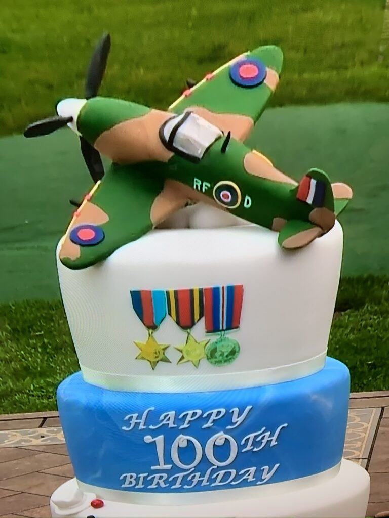 11 Battle of Britain Memorial Flight Spitfire cake topper for the legendary Captain Tom Moore birthday