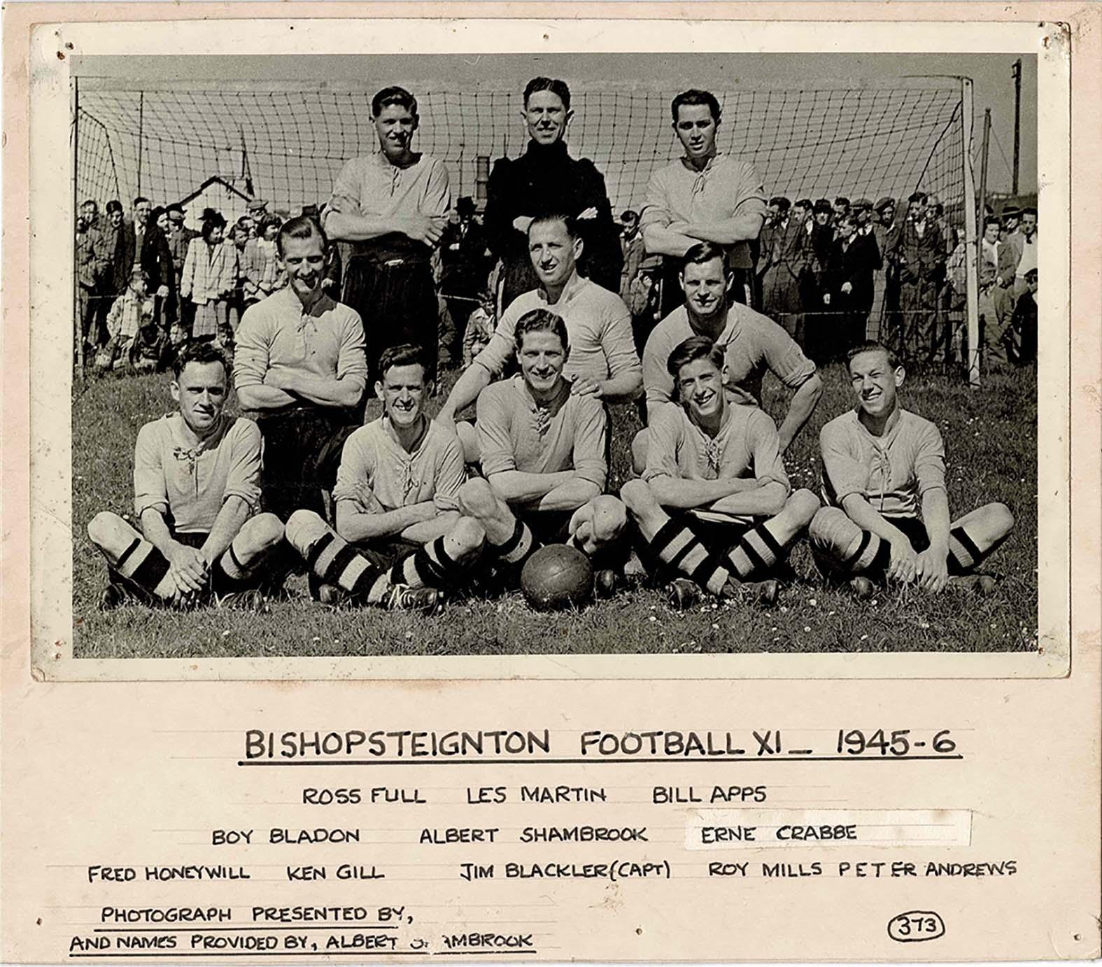 Mounted Photograph of Bishopsteignton Football XI 1945-6.