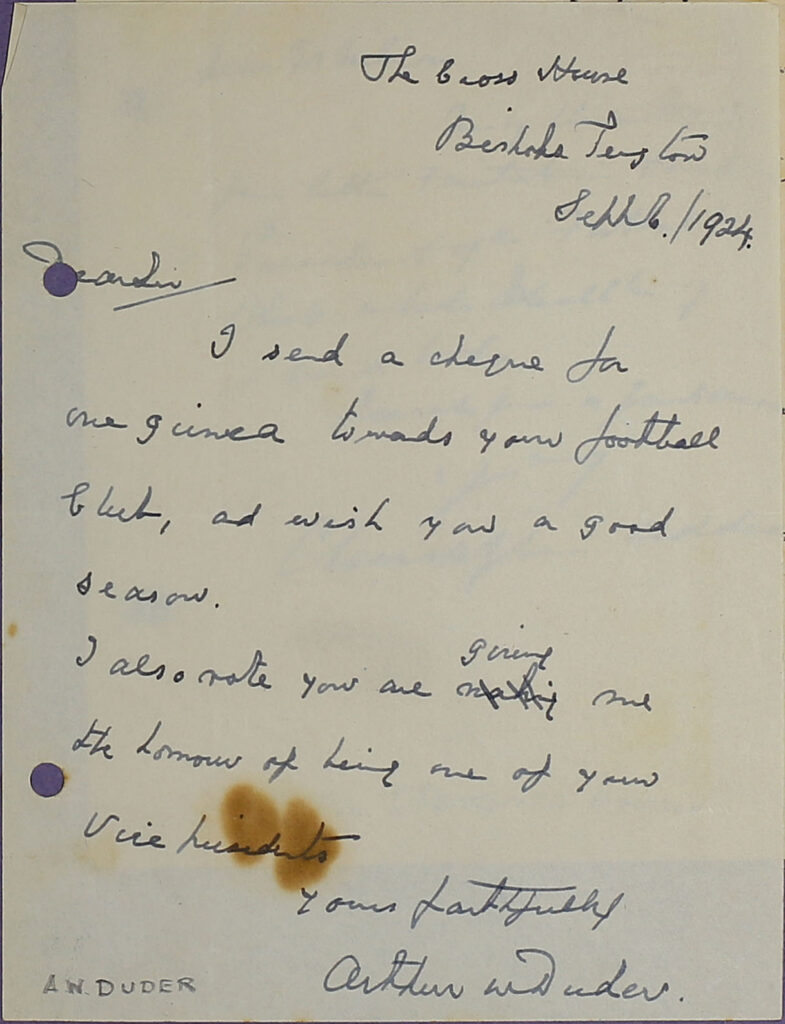 Letter from Arthur Duder possibly addressed to Nils Nilsen, 1924.