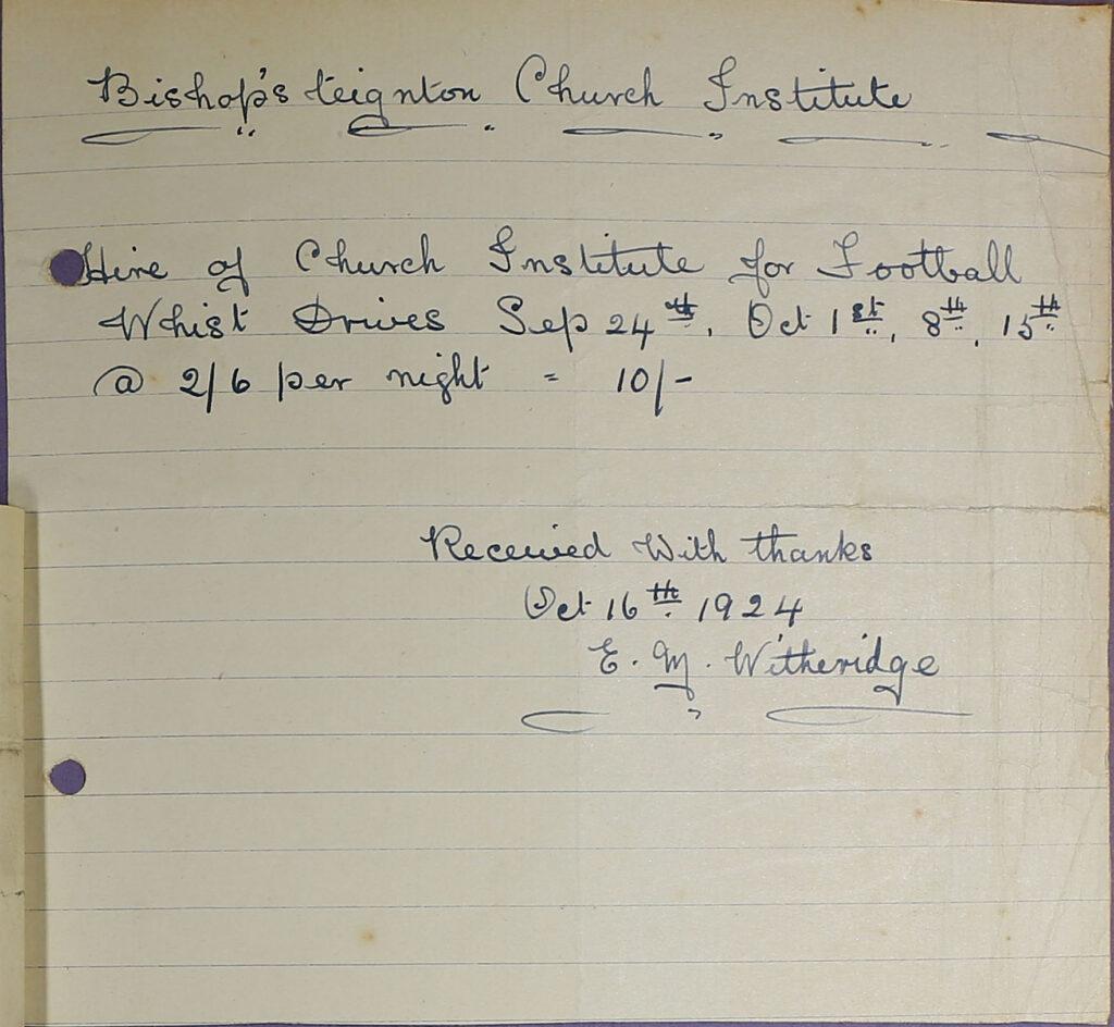 Bishopsteignton Church Institute Receipt, 1924.