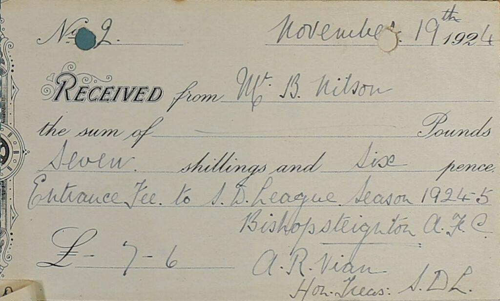 South Devon Football League Receipt, 1924