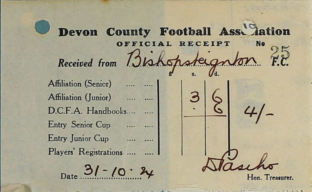 Devon County Football Association Receipt, 1924.
