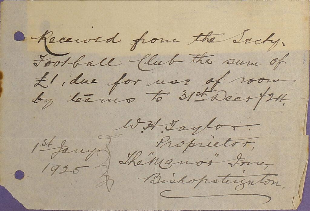 Receipt from The Manor Inn Bishopsteignton, 1925.