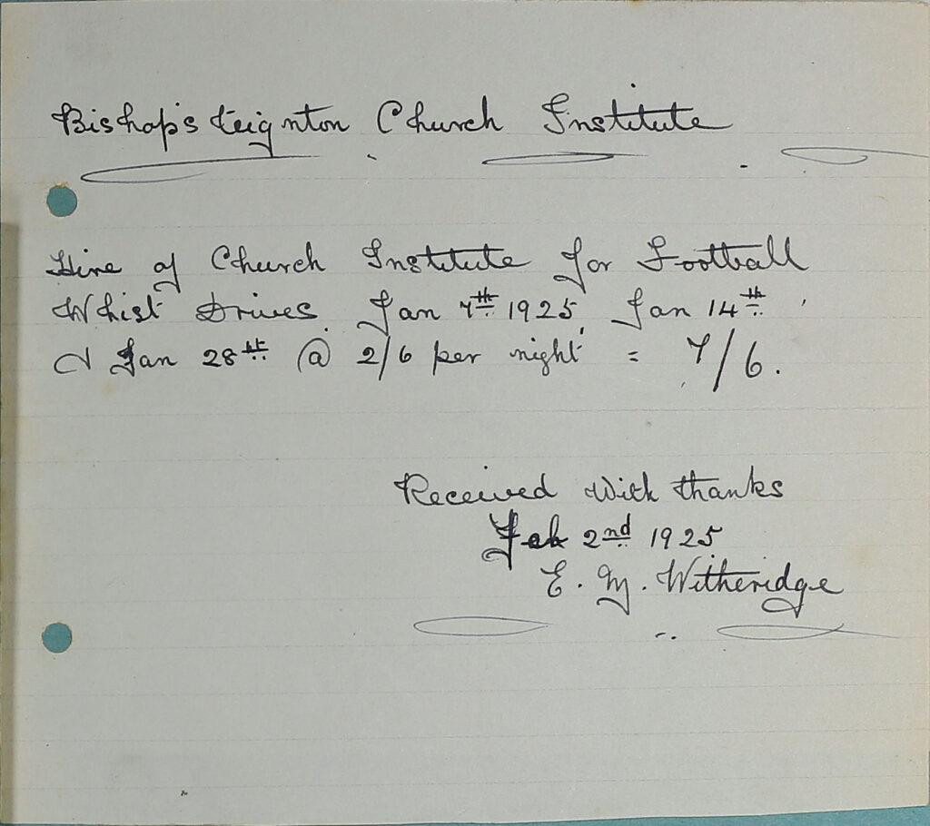 Bishopsteignton Church Institute Receipt, 1925.