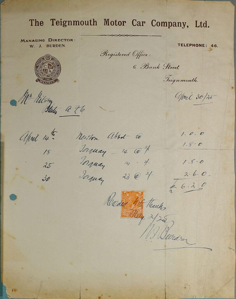 Teignmouth Motor Car Company Ltd. Receipt, 1925.