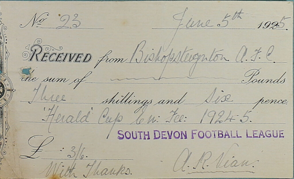 South Devon Football League Receipt, 1925.