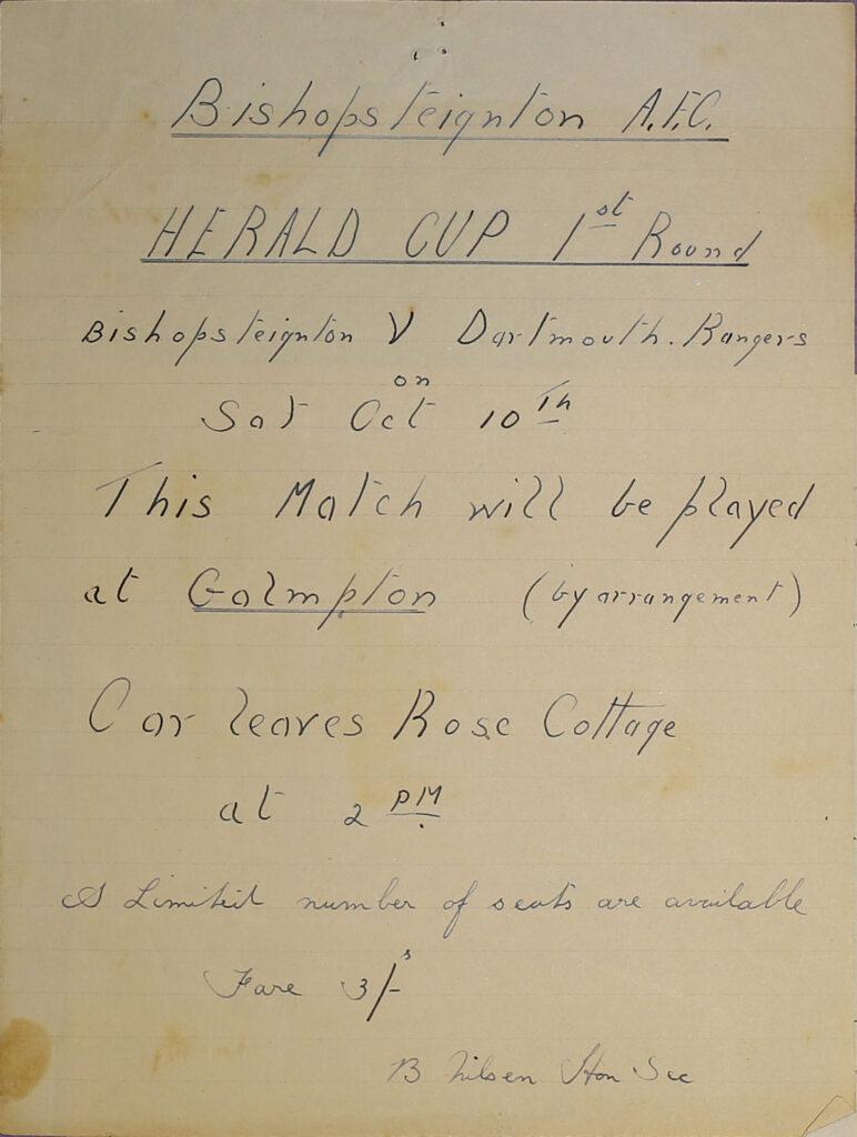 Bishopsteignton A.F.C Herald Cup 1st Round game poster.