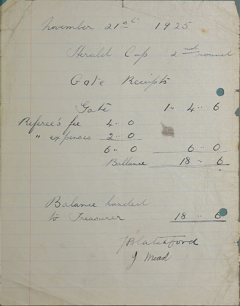 Herald Cup 2nd round Gate Receipts balance sheet, 1925.