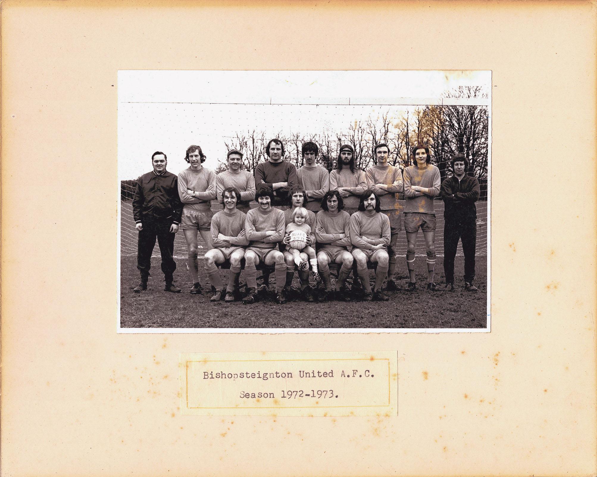 Mounted photograph of Bishopsteignton A.F.C Season 1972-1973, front.