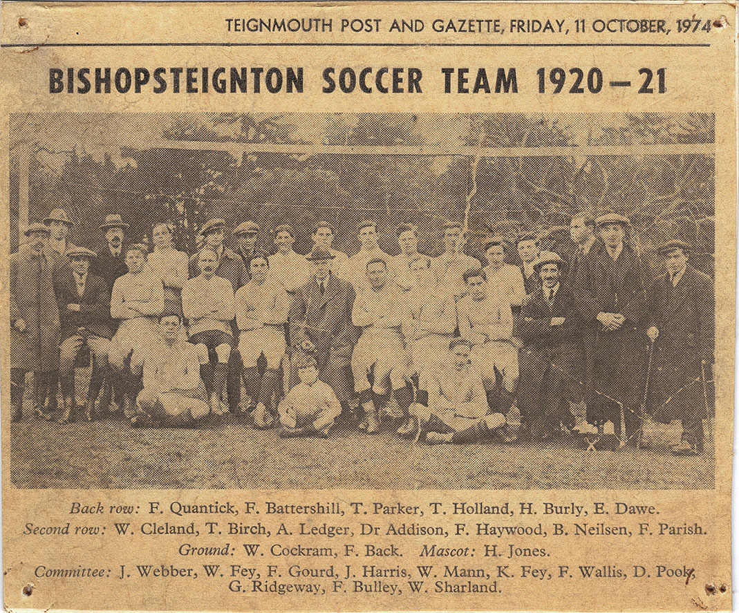 Mounted newspaper cutting of Bishopsteignton Soccer Team 1920-21.