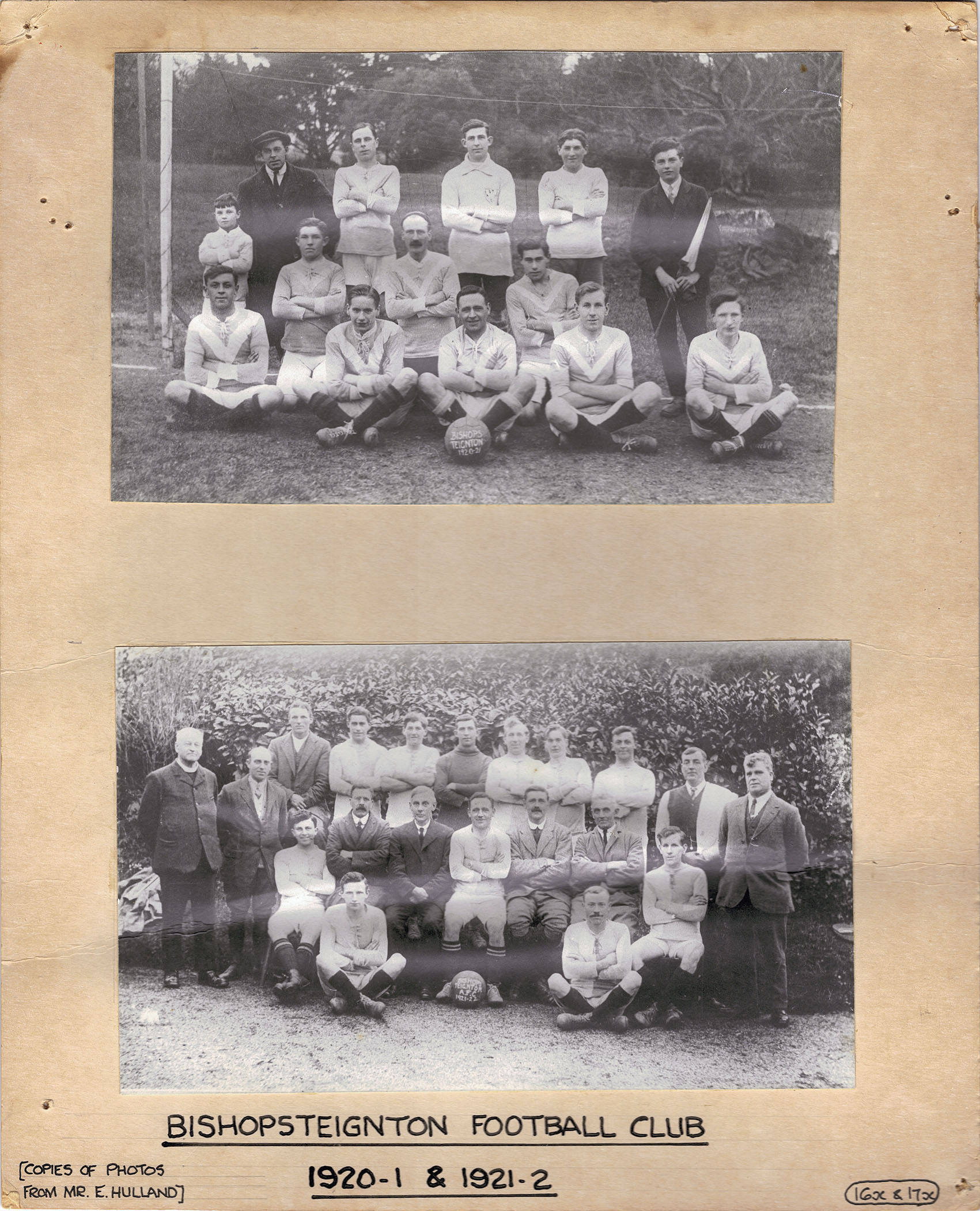 Exhibition board Bishopsteignton Football Club 1920-1 & 1921-2.