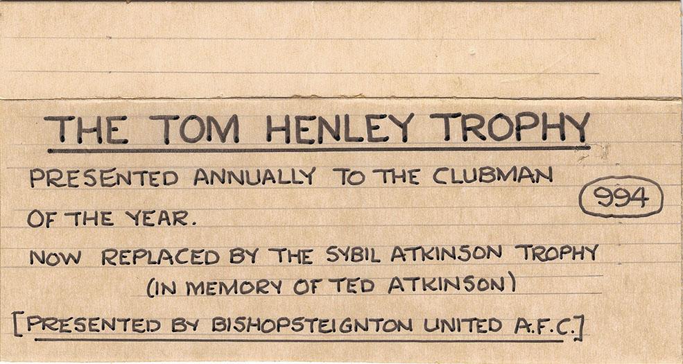 The Tom Henley Trophy exhibit label.