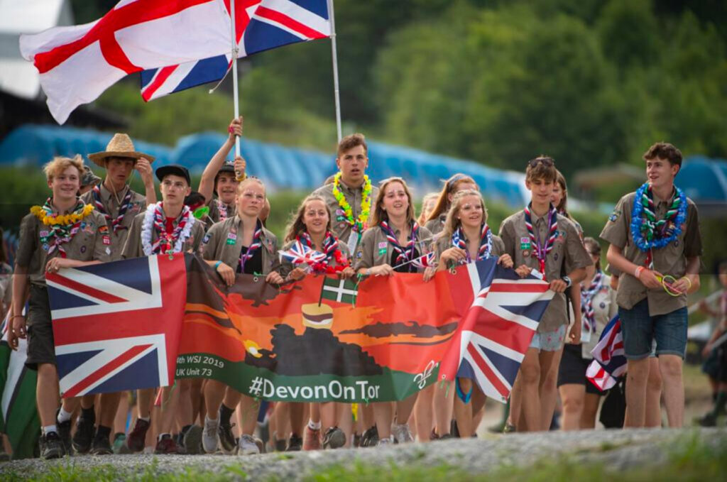 Photograph of Devon unit at the 24th World Scout Jamboree in West Virginia in 2019