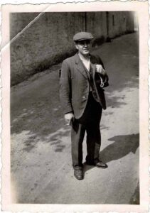 Photograph of a Philip Coombe possibly on Fore Street, Bishopsteignton, 1932, front.