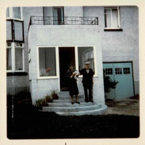 Photograph of Philip Coombe and Grace Coombe née Loud, 1969, inscribed in ink on reverse.