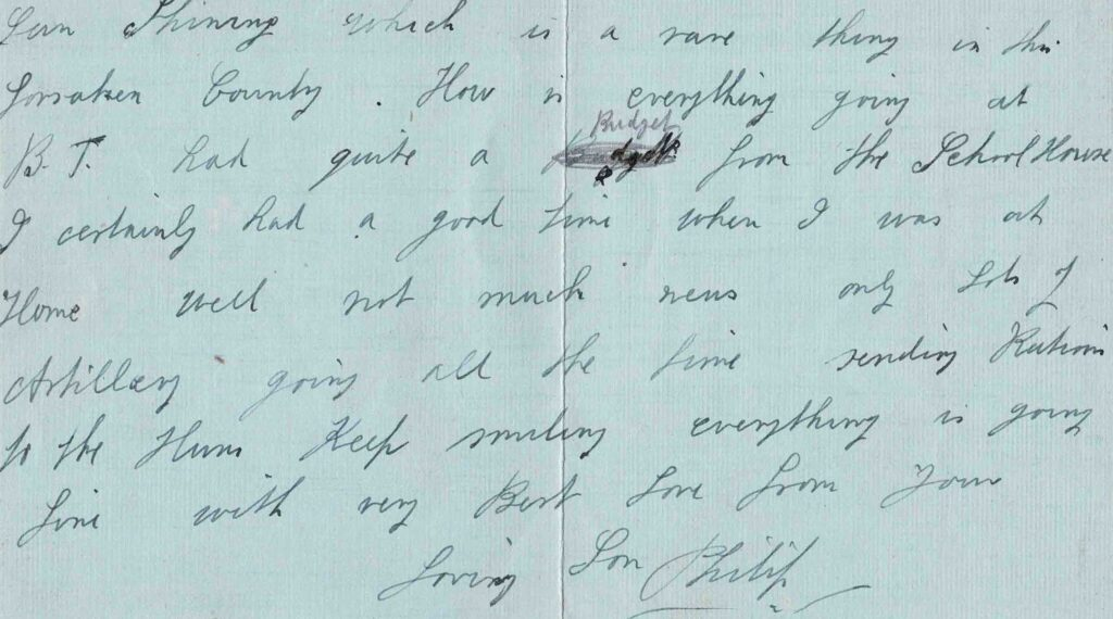 Section of item 2125 letter from Philip Coombe 1917