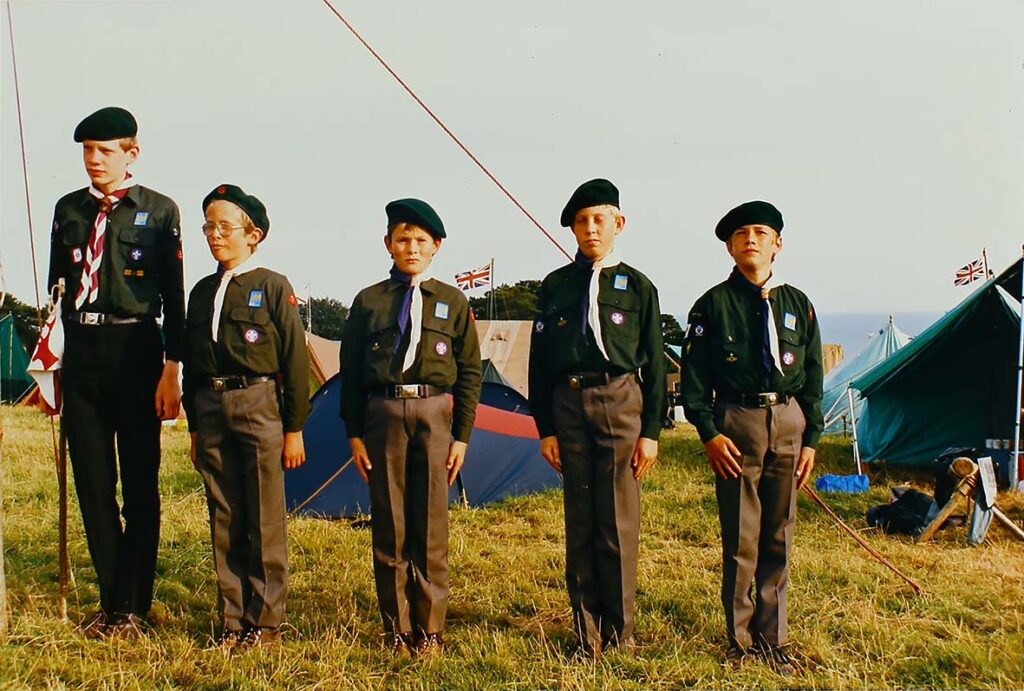 Photograph of Stag patrol at the Westcountry Scout Jamboree in 1986 at Mount Edgcumbe.