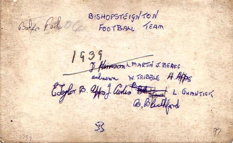 Reverse of Bishopsteignton Football Team 1939