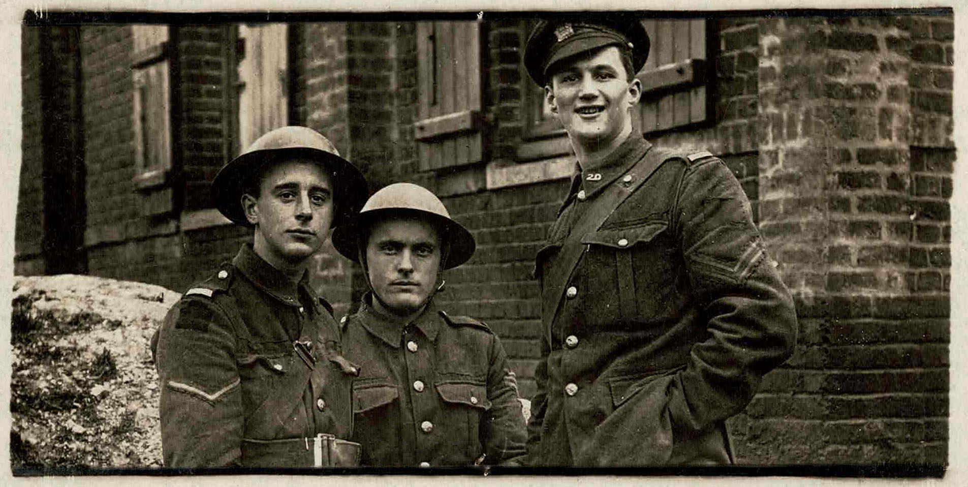 Photograph of Philip Coombe and two other soldiers in France, 1918.
