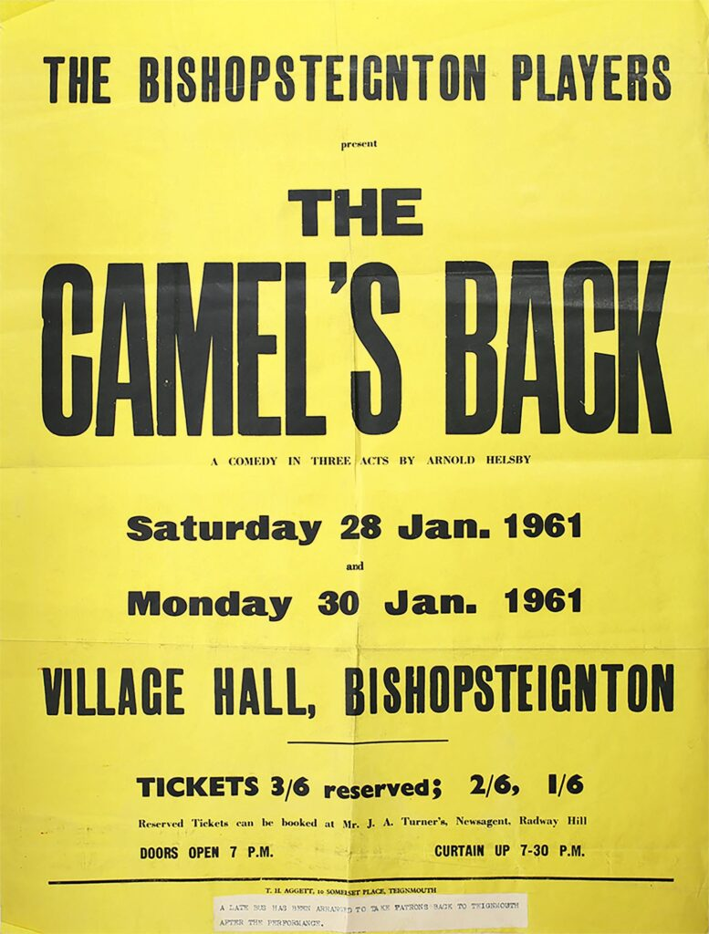 Poster for Bishopsteignton 'The Camel's Back' presented by Bishopsteignton Players