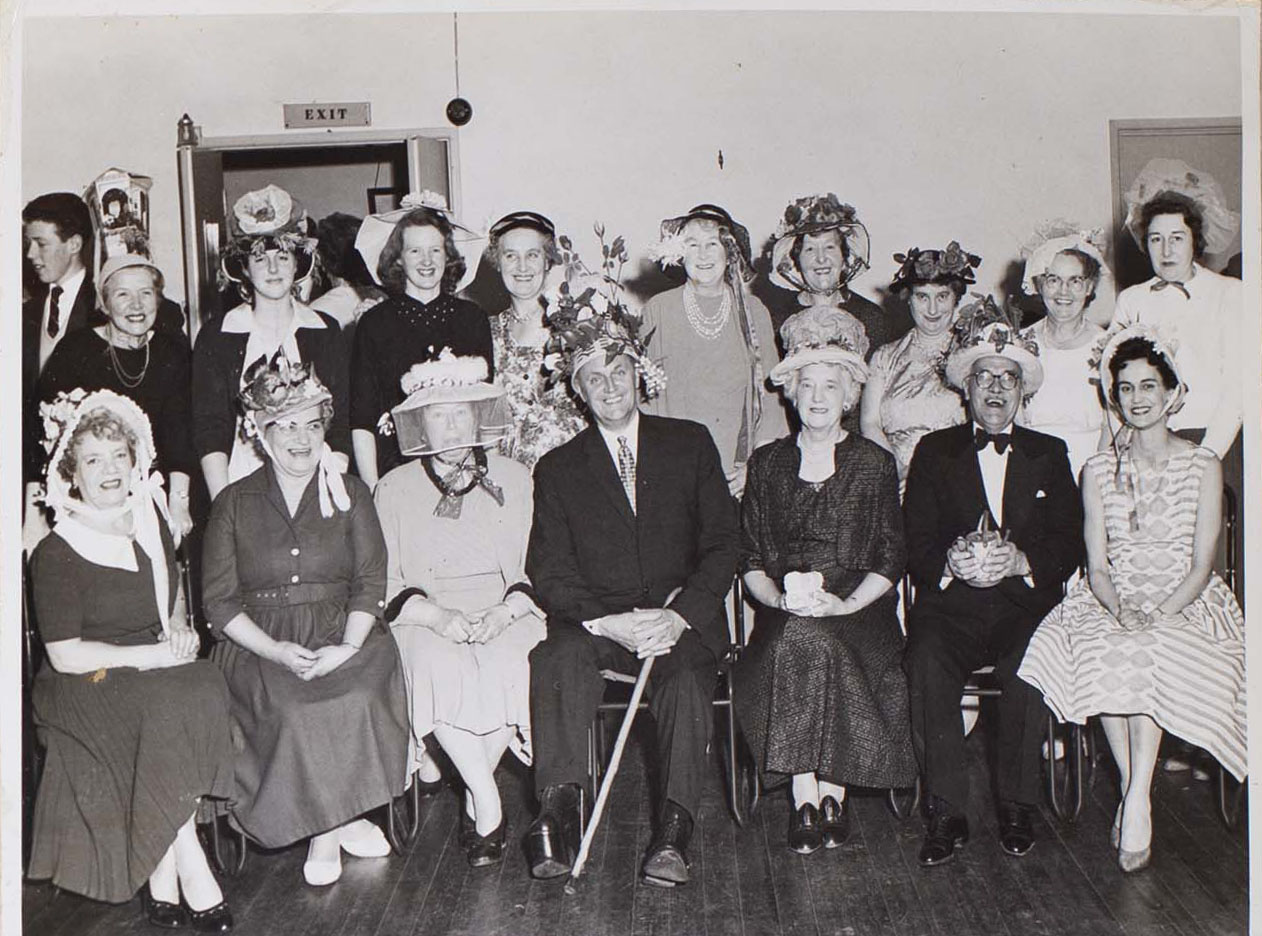 Photograph of Bishopsteignton Players wearing Easter Bonnets