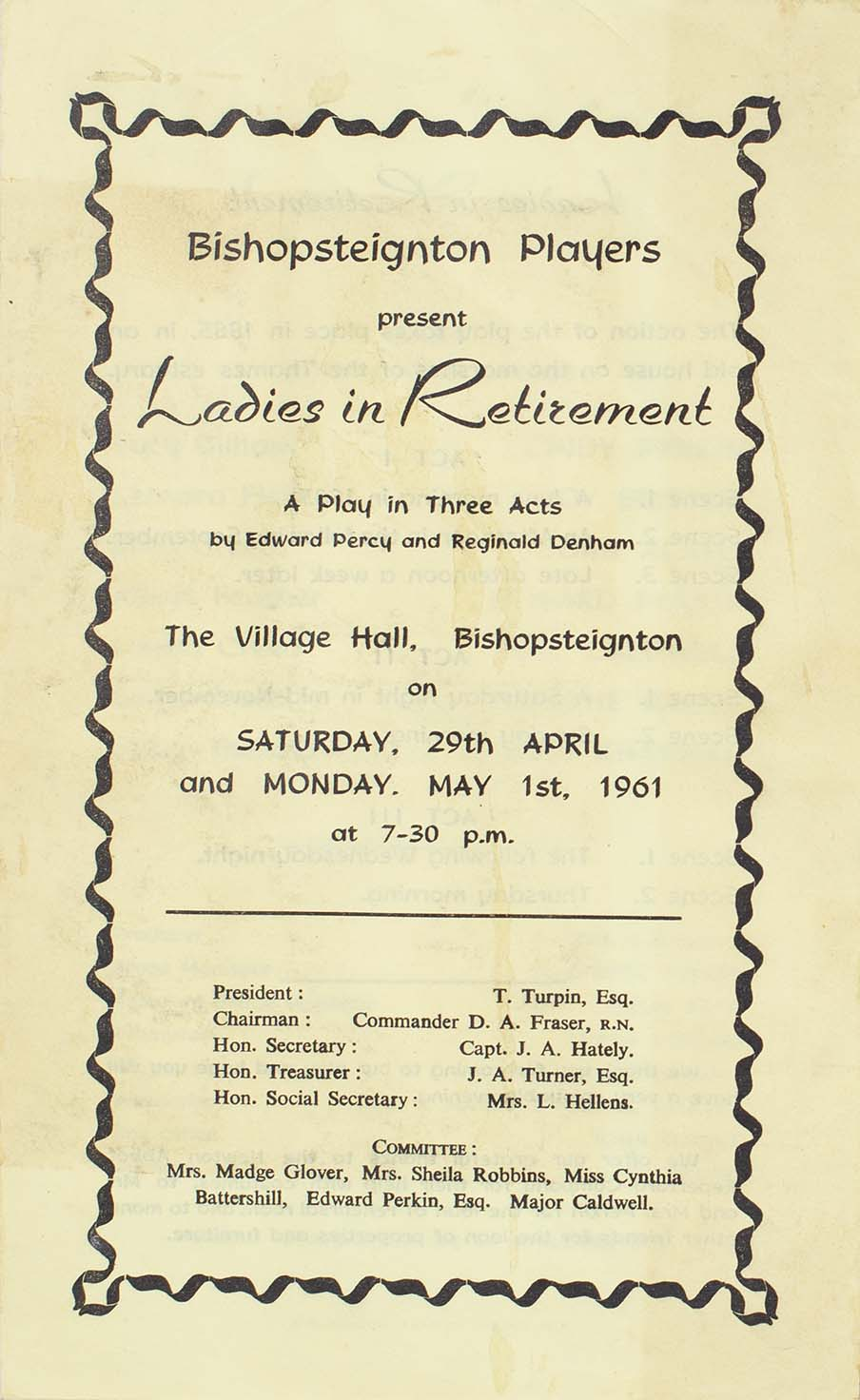 Leaflet for the play 'Ladies in Retirement' presented by the Bishopsteignton Players front