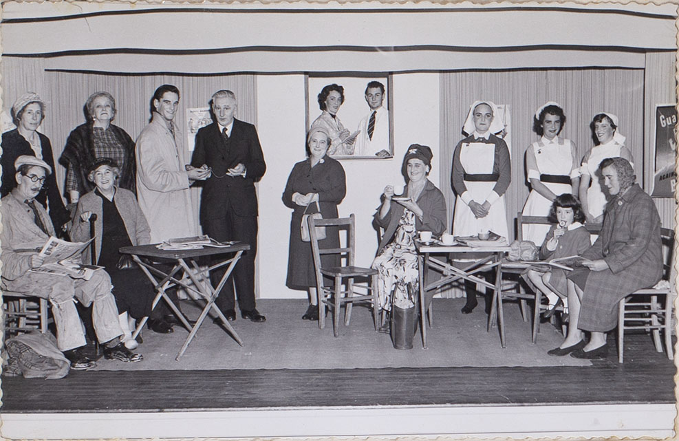 Photograph of the cast in the play 'Out Patients' presented by the Bishopsteignton Players