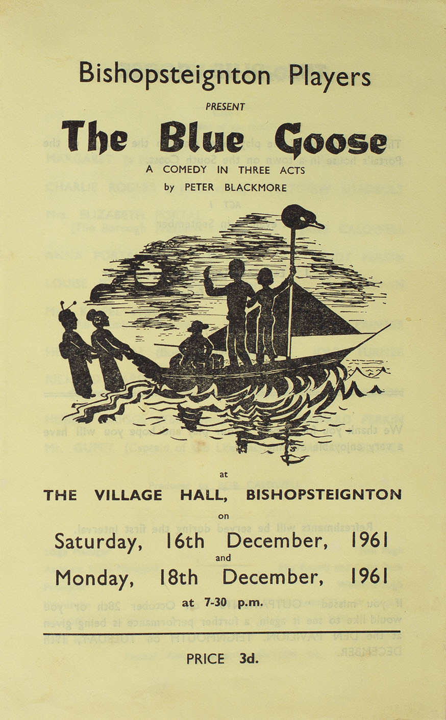 Leaflet to advertise the programme of the play 'The Blue Goose' presented by Bishopsteignton Players front