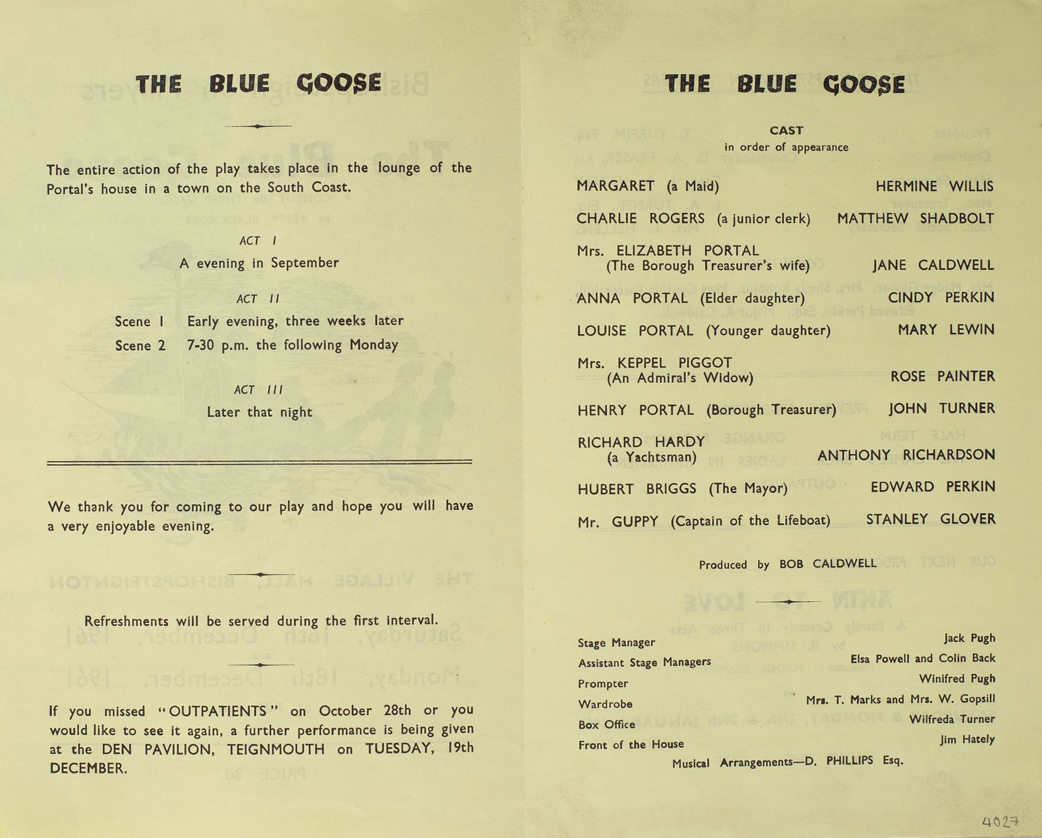 Leaflet to advertise the programme of the play 'The Blue Goose' presented by Bishopsteignton Players inside