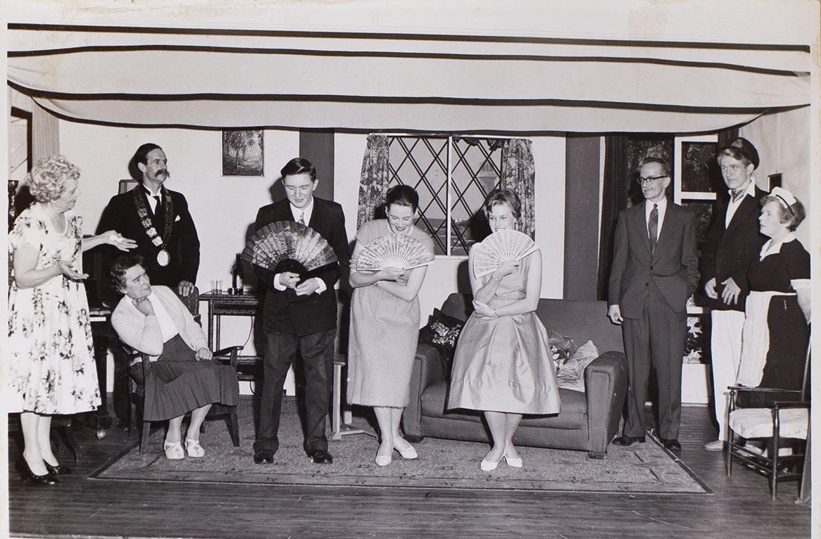 Photograph of the cast in the play 'The Blue Goose' presented by Bishopsteignton Players in 1961