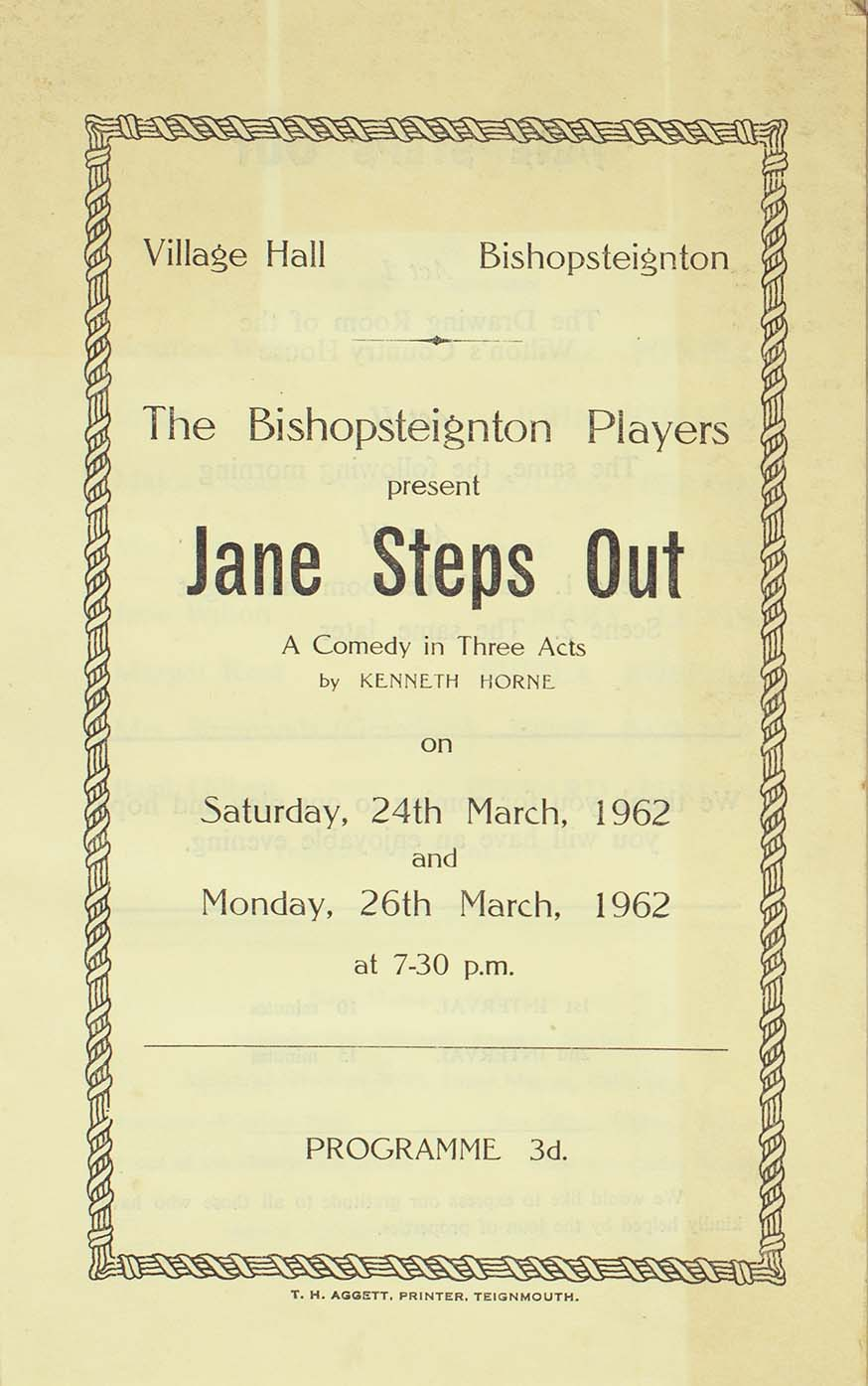 Leaflet to advertise the programme for the play 'Jane Steps Out' presented by the Bishopsteignton Players front