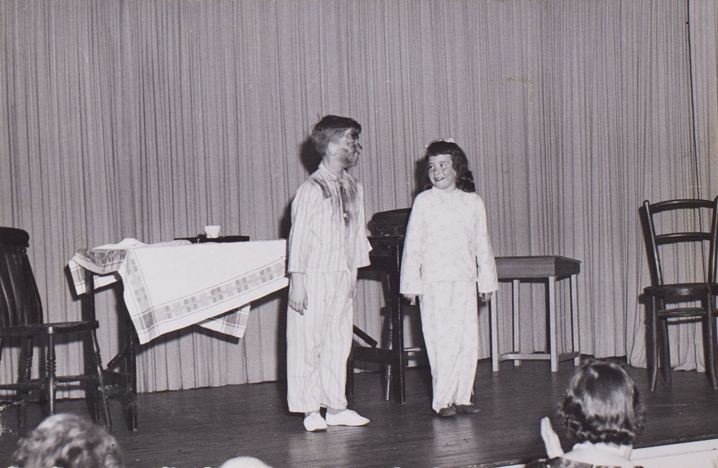 Photograph of children, Albert Heal and Gaynor Robbins in a play presented by Bishopsteignton Players