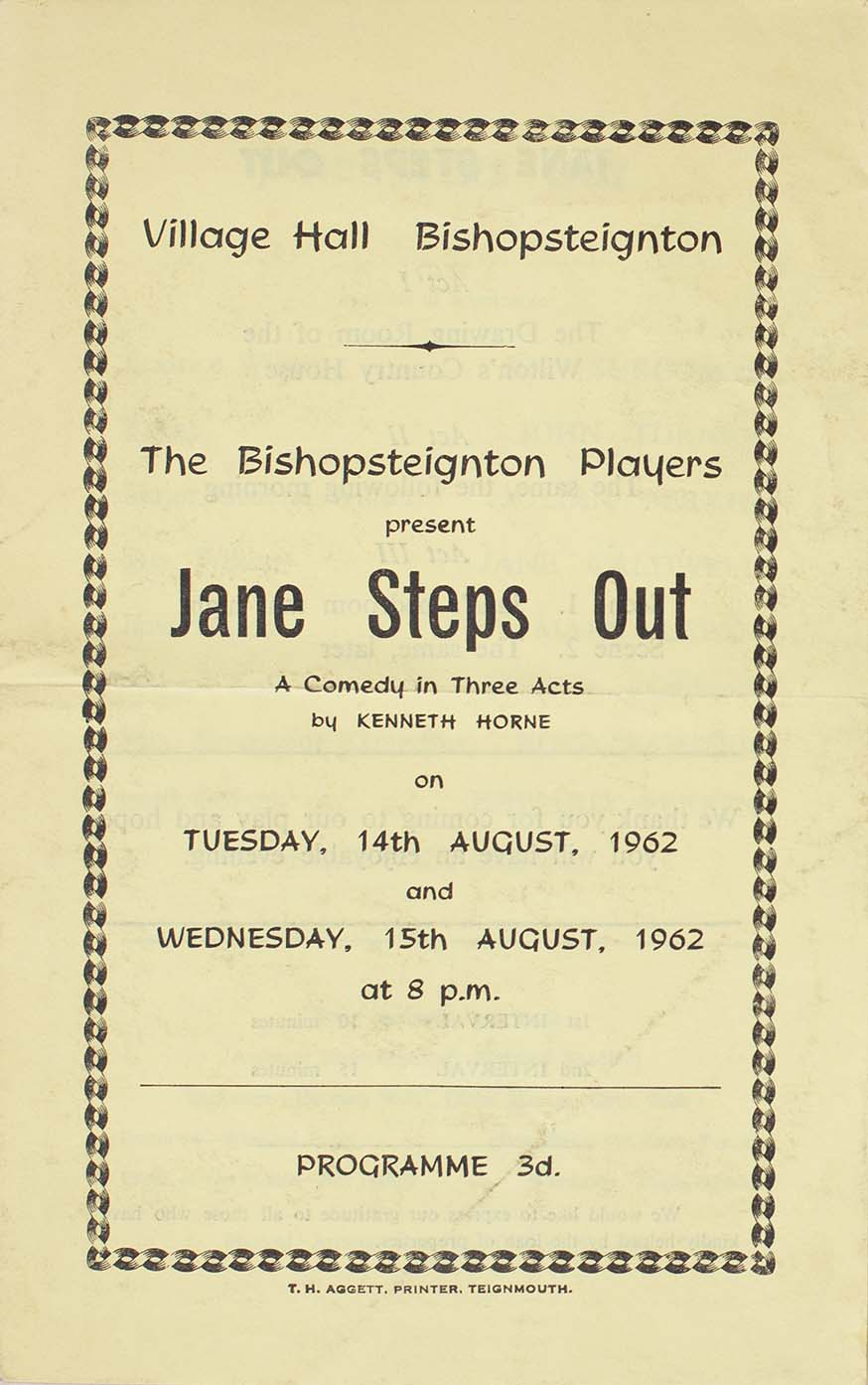 Leaflet to advertise the second programme for this play 'Jane Steps Out' presented by the Bishopsteignton Players August 1962 front