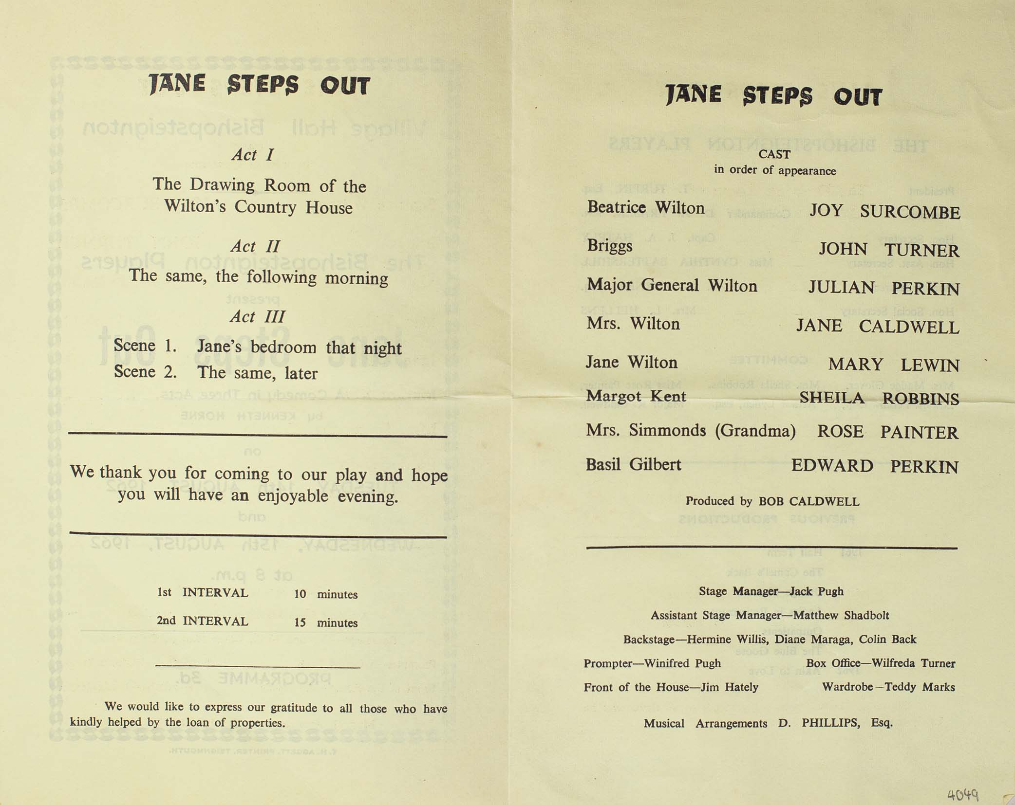 Leaflet to advertise the second programme for this play 'Jane Steps Out' presented by the Bishopsteignton Players August 1962 inside