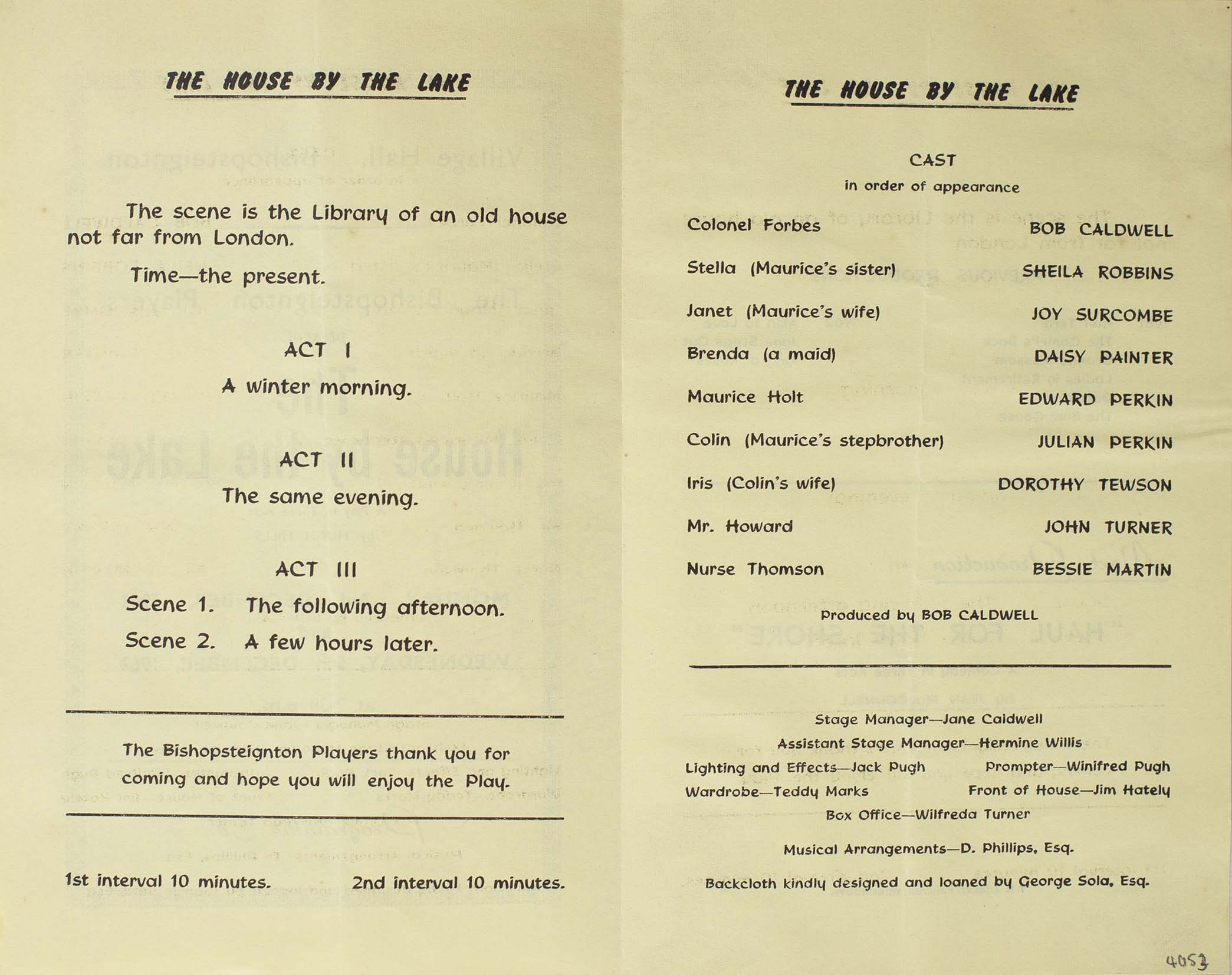 Leaflet to advertise the programme for the play 'The House by the Lake' presented by the Bishopsteignton Players inside