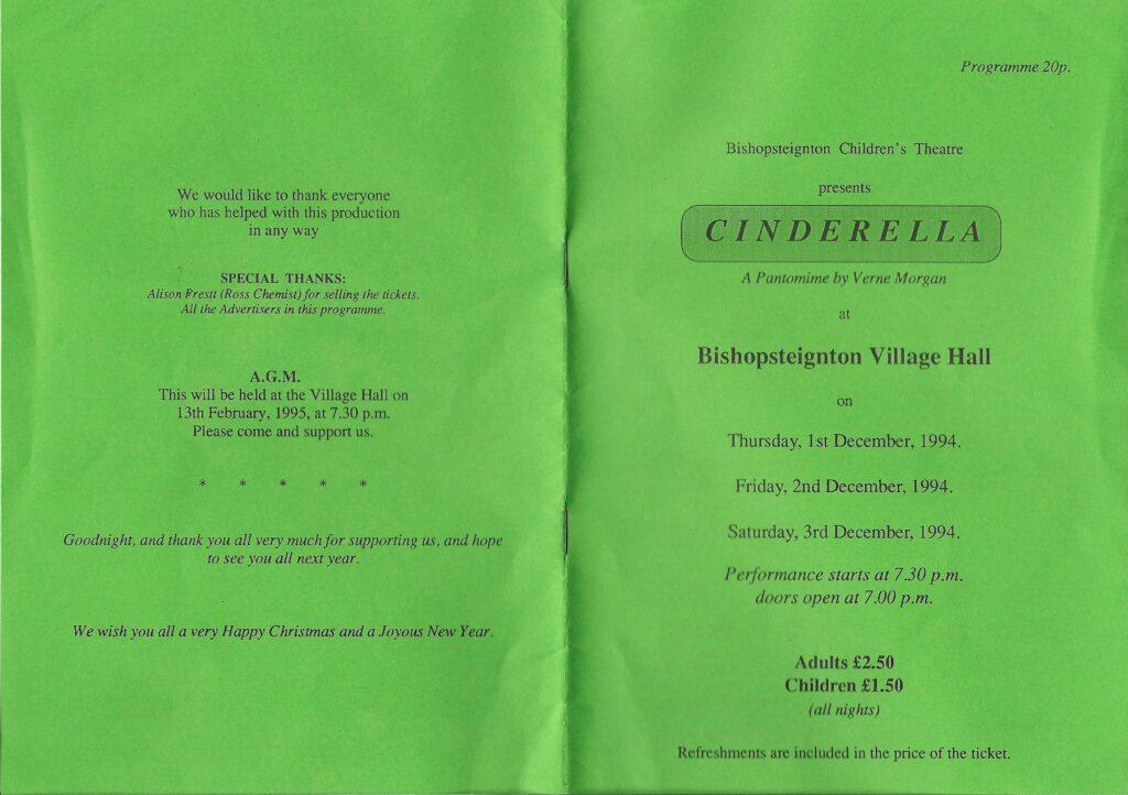 BCT, Cinderella Programme 1, 1994