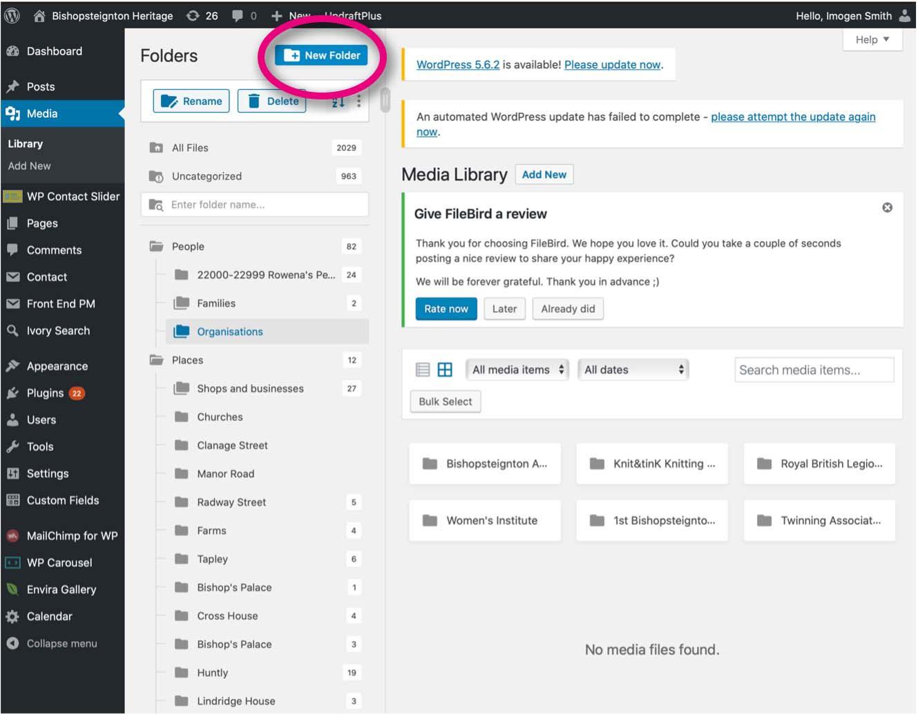 Media Library new folder.