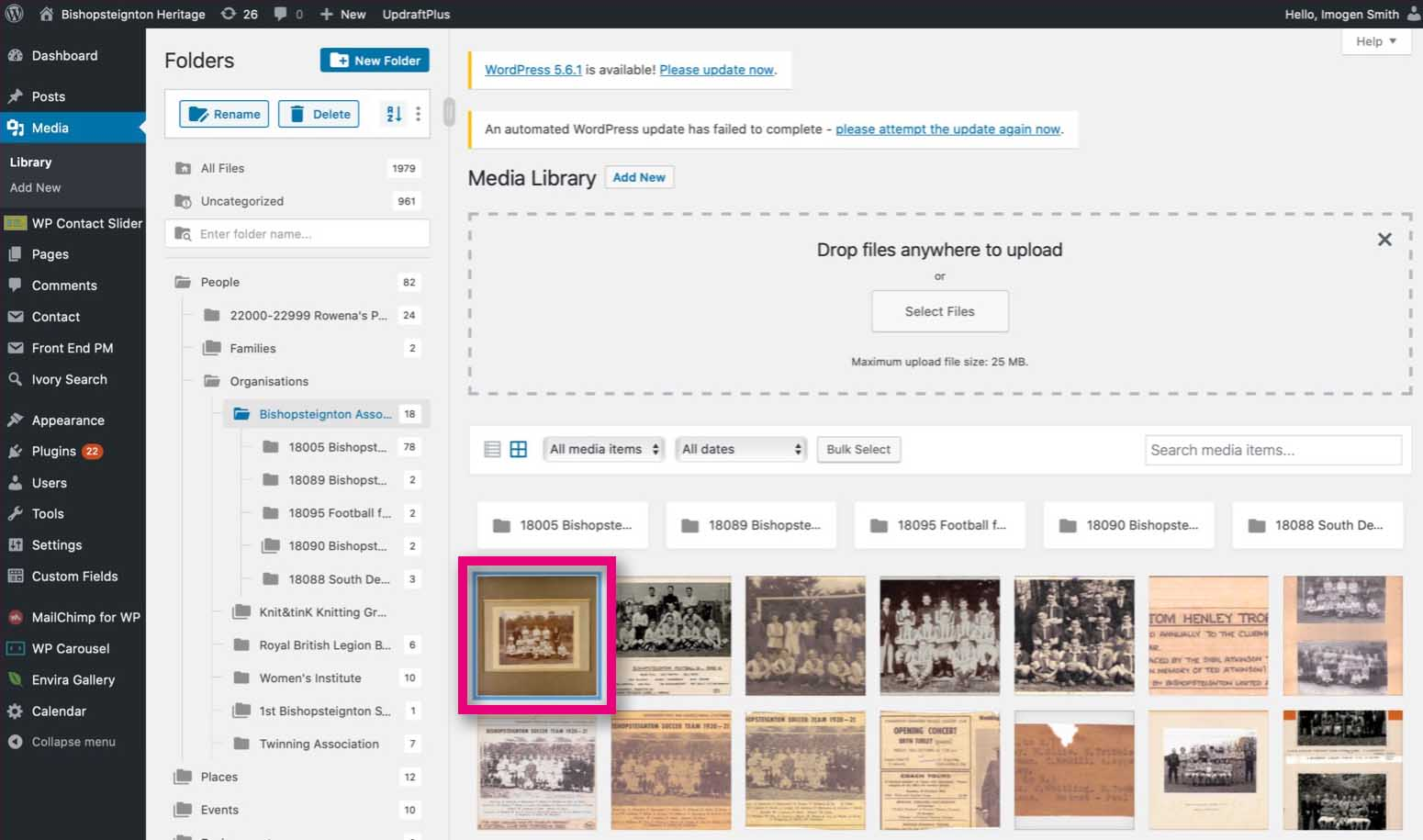Media Library upload.