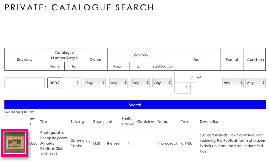 The first catalogue search results for Item 18000 onwards.
