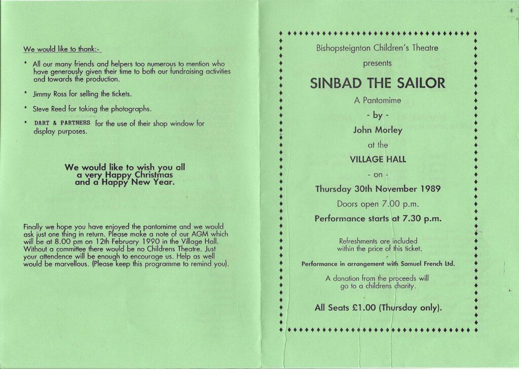 BCT,Sindbad The Sailor , Programme 1,1989