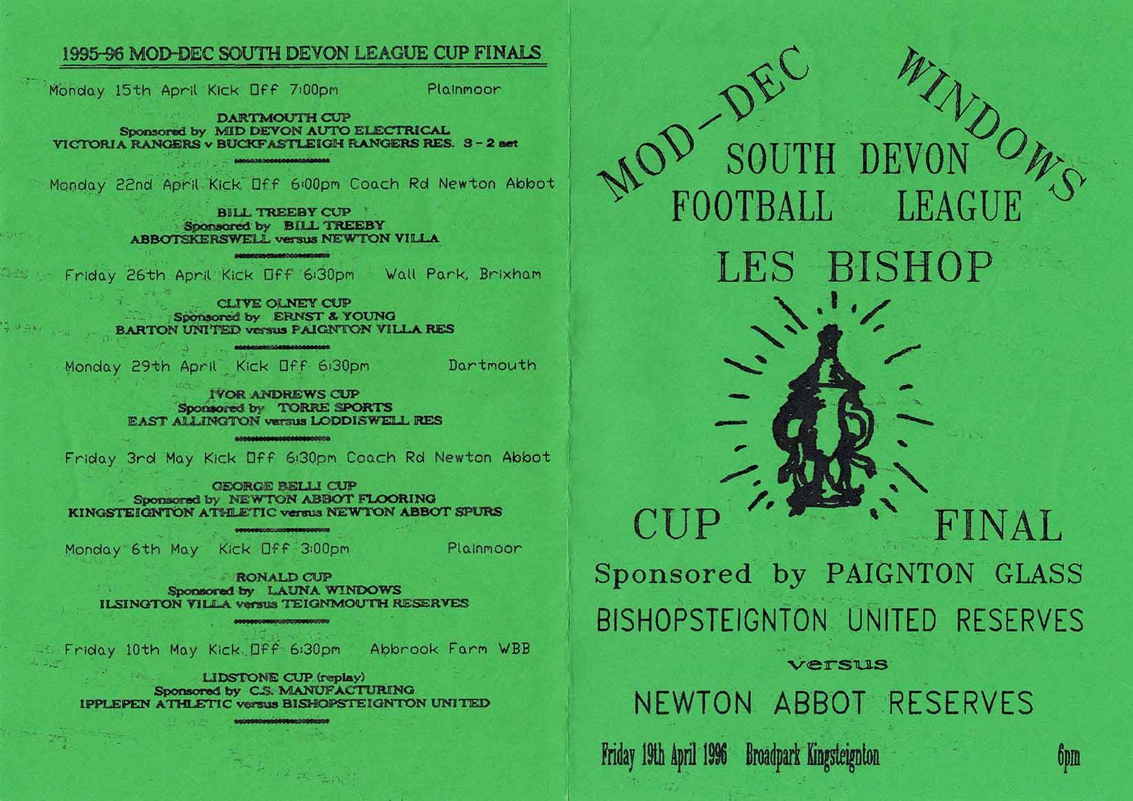 Programme for South Devon Football League Les Bishop Cup Final front