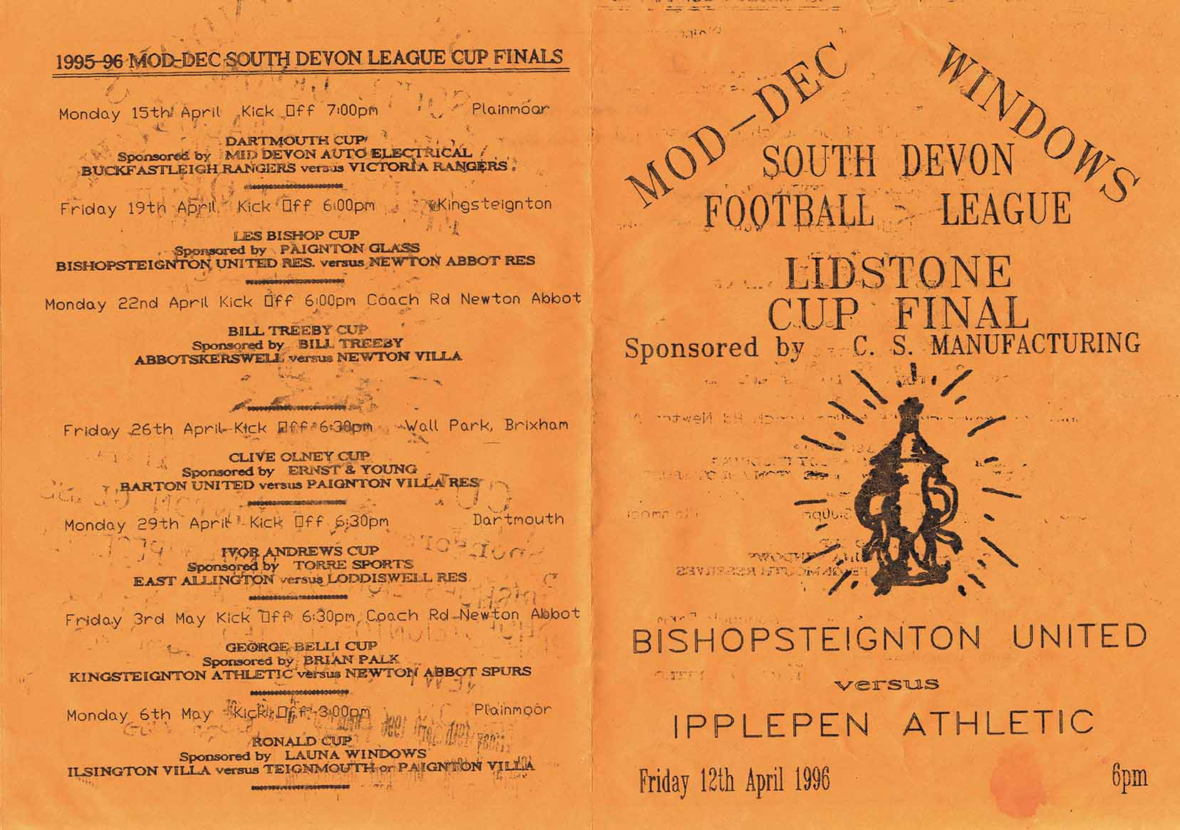Programme for South Devon Football League Lidstone Cup Final front