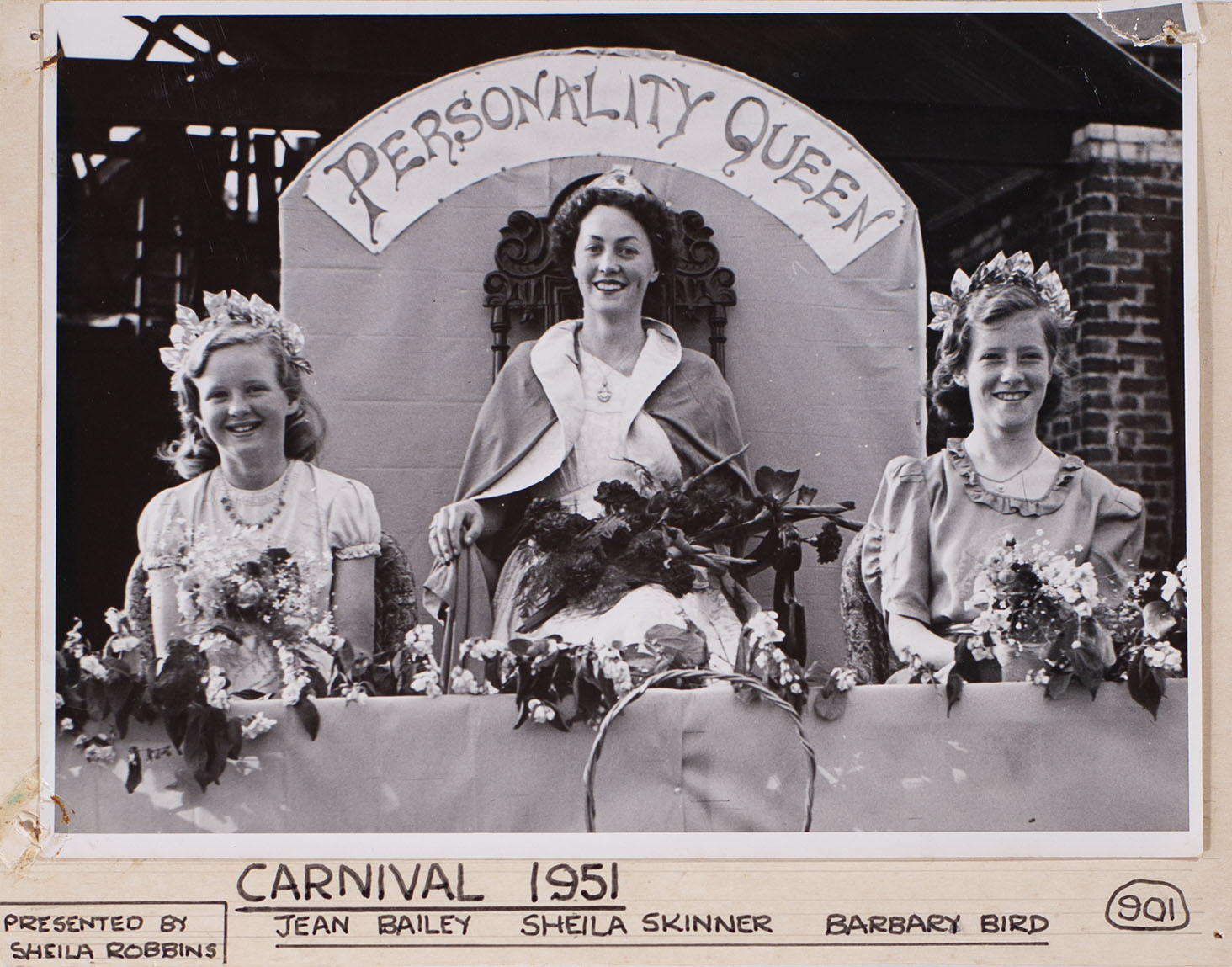 Mounted photograph of Bishopsteignton Carnival 1951 Personality Queen and two others