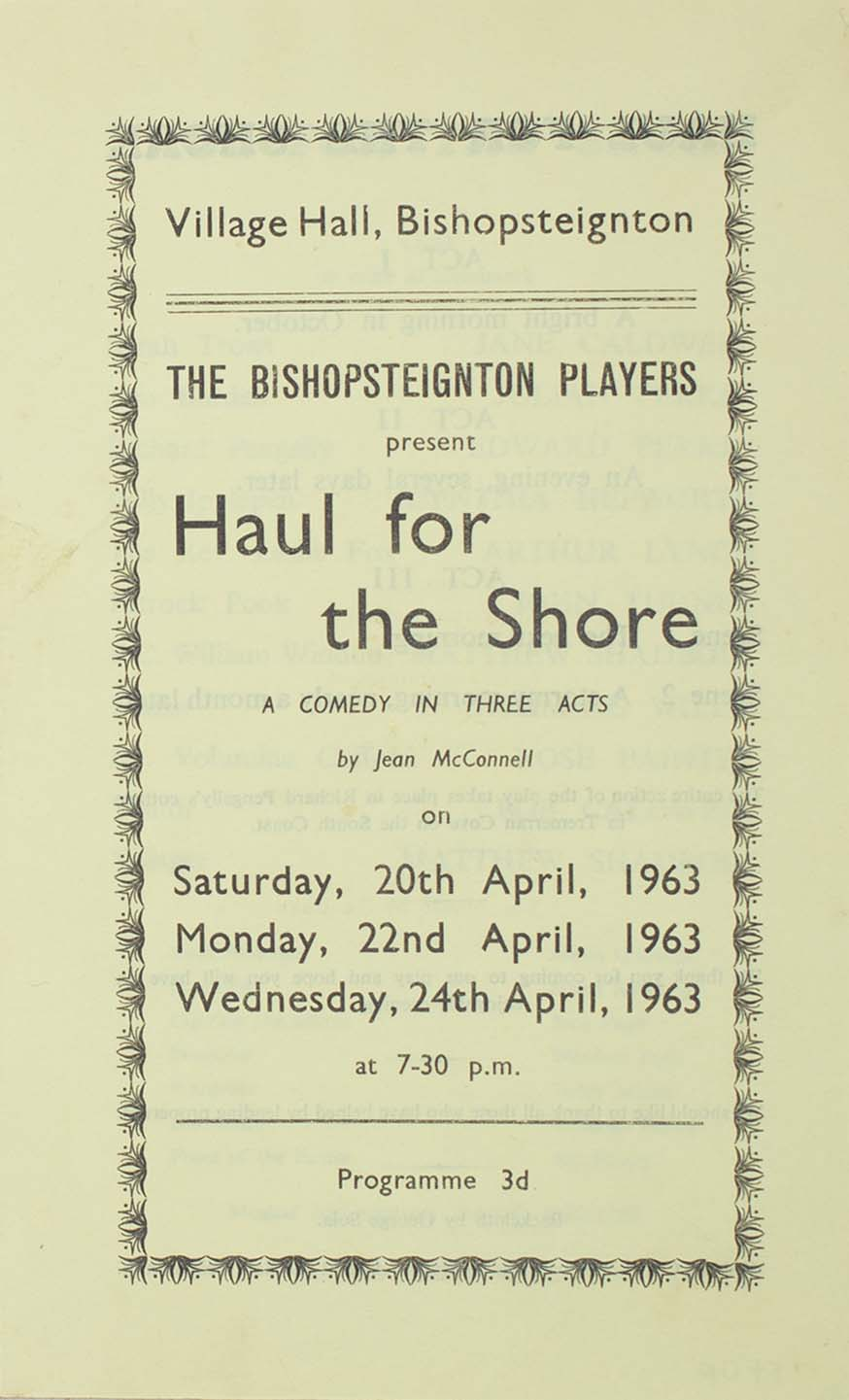 Leaflet to advertise the programme for the play 'Haul for the Shore' presented by the Bishopsteignton Players 1963 front
