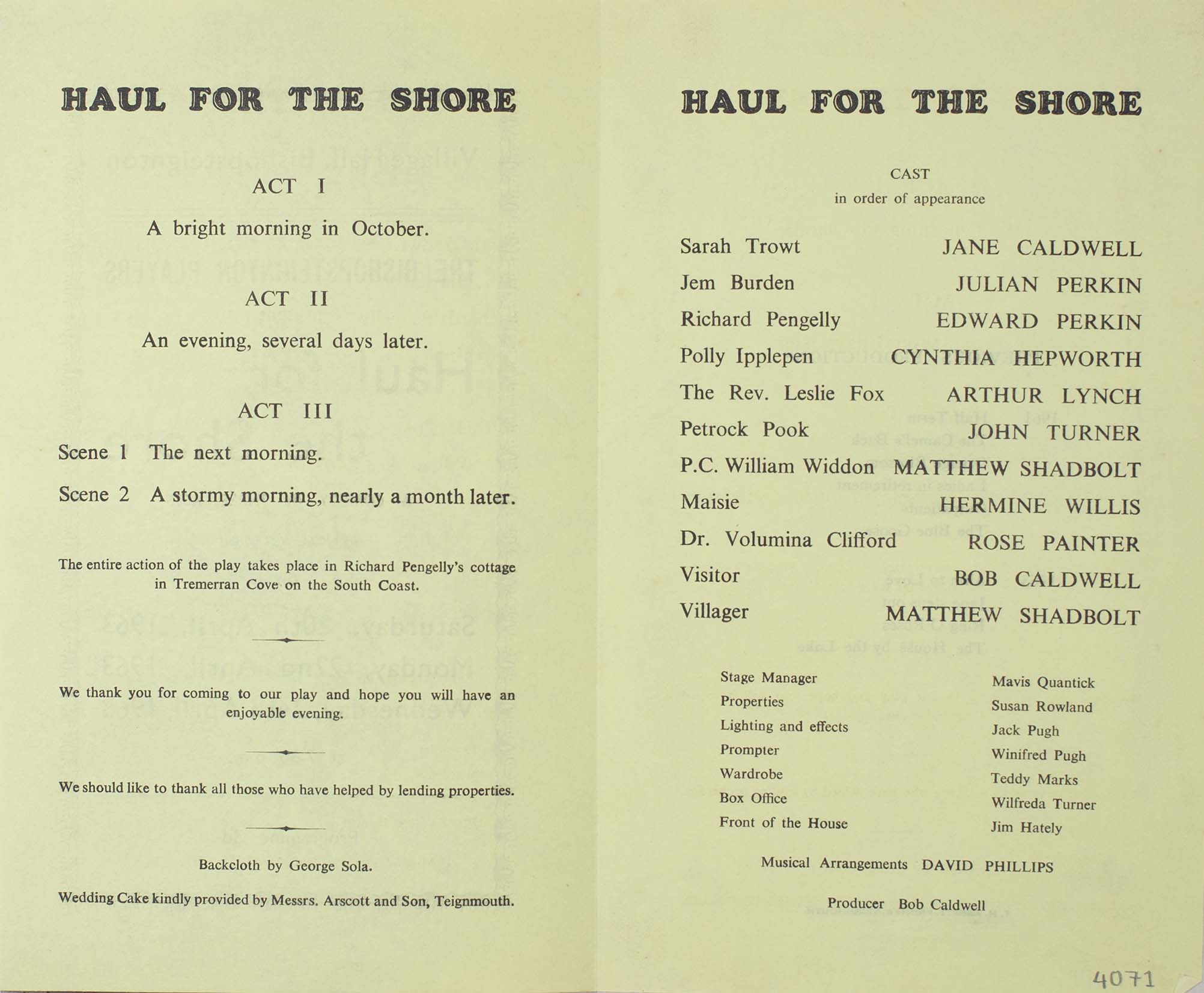 Leaflet to advertise the programme for the play 'Haul for the Shore' presented by the Bishopsteignton Players 1963 inside
